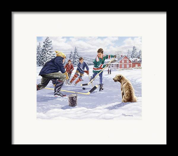 Hockey Framed Print featuring the painting This Time For Sure by Richard De Wolfe