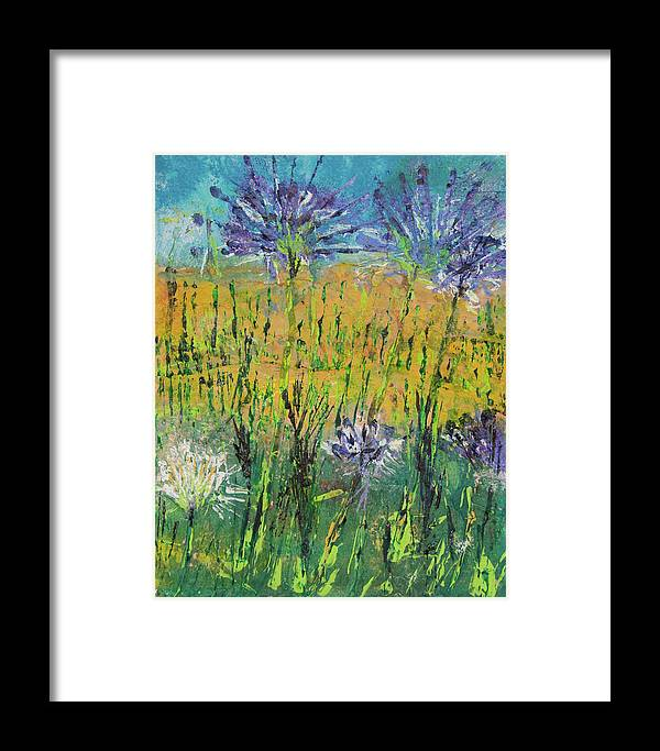 Thistle Framed Print featuring the relief Thistles Too by Paper Jewels By Julia Malakoff