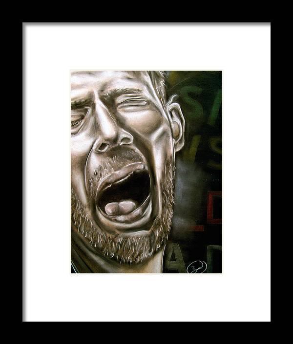 Thom Framed Print featuring the drawing Thom Yorke by Zach Zwagil