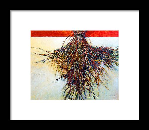 Tree Framed Print featuring the painting Thorn Zia by Dale Witherow