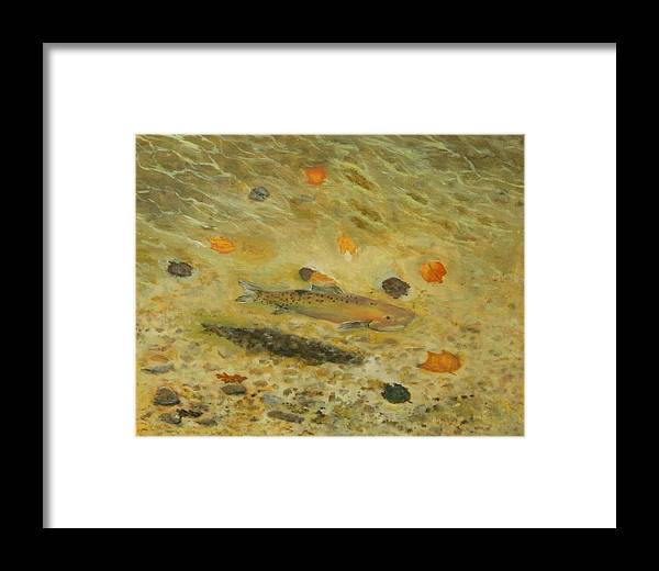 Pond Framed Print featuring the painting Thorndike Pond Trout by Edward Merrell