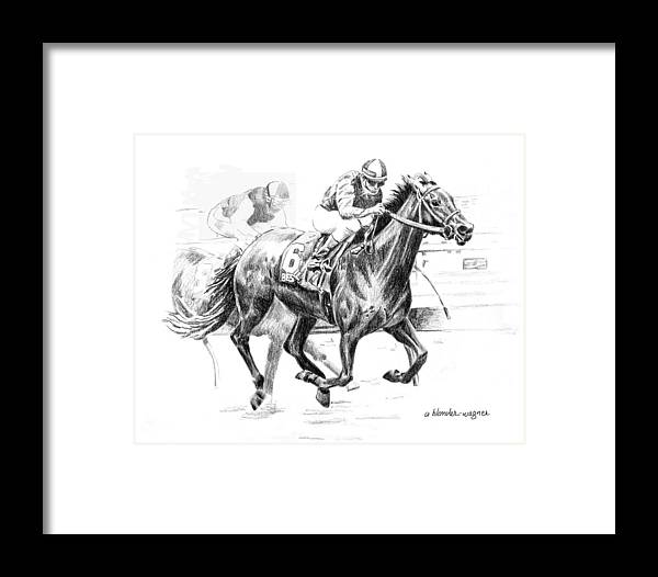 Thoroughbred Framed Print featuring the drawing Thoroughbred Best Pal by Arline Wagner