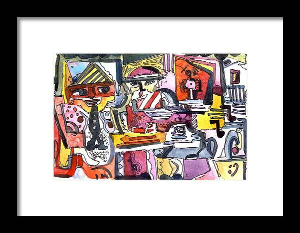Abstract Framed Print featuring the painting Those Crazy Musicians by Mindy Newman