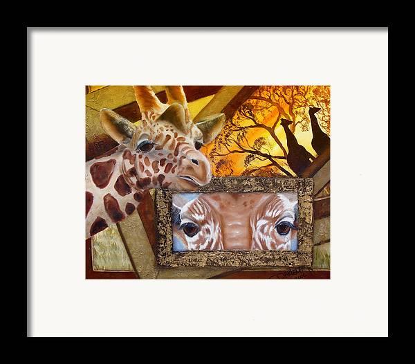 Giraffe Framed Print featuring the painting Those Eyes   Giraffe Safari Series No 3 by Darlene Green