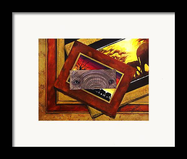 Elephant Eyes Framed Print featuring the painting Those Eyes Elephant Safari Series by Darlene Green