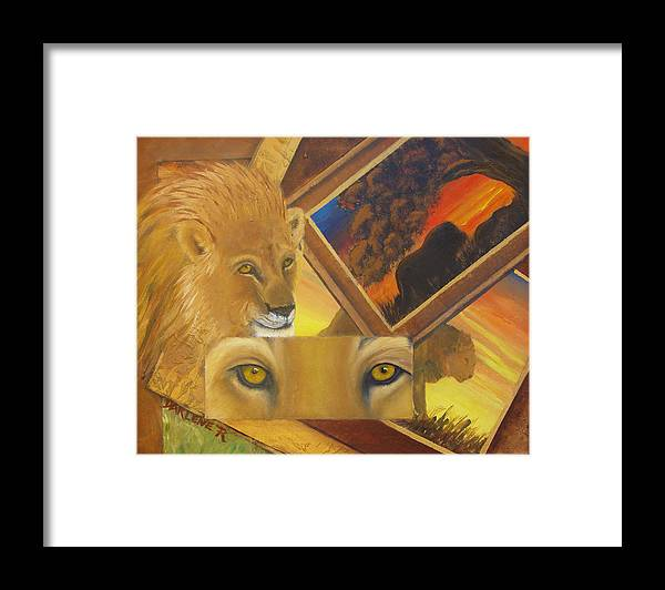 Lion Framed Print featuring the painting Those Eyes Lion by Darlene Green