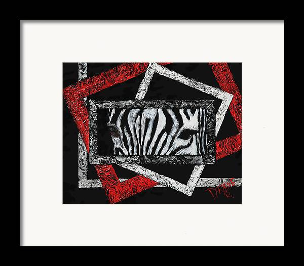Abstract Framed Print featuring the painting Those Eyes...zebra by Darlene Green