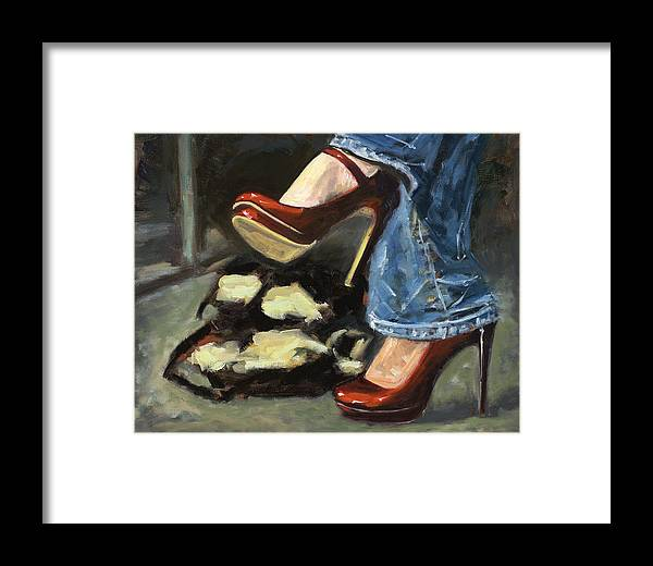 High Heels Framed Print featuring the painting Those Shoes by Edward Mallory