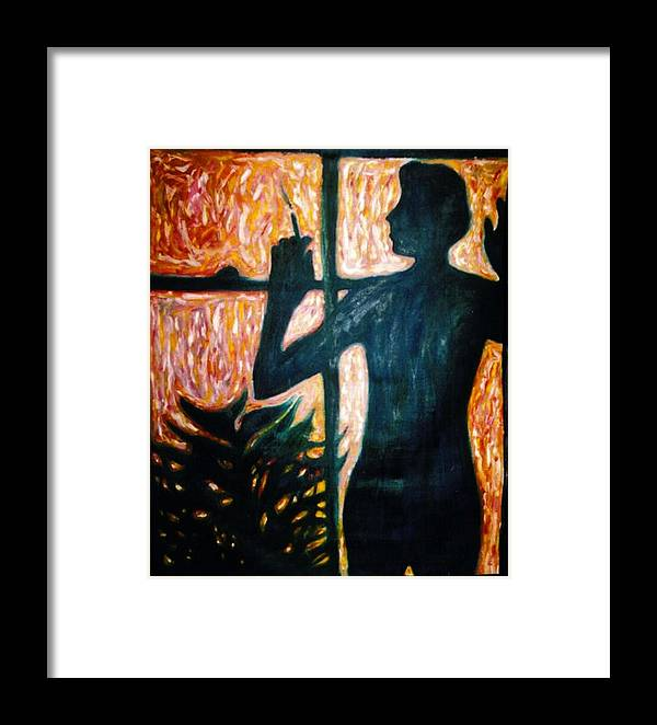 Portrait Framed Print featuring the painting Those Were The Shadows That Was The Wall II by Stephen Mead