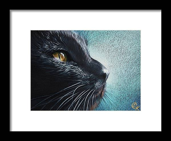 Cat Framed Print featuring the drawing Thoughtful Cat by Elena Kolotusha