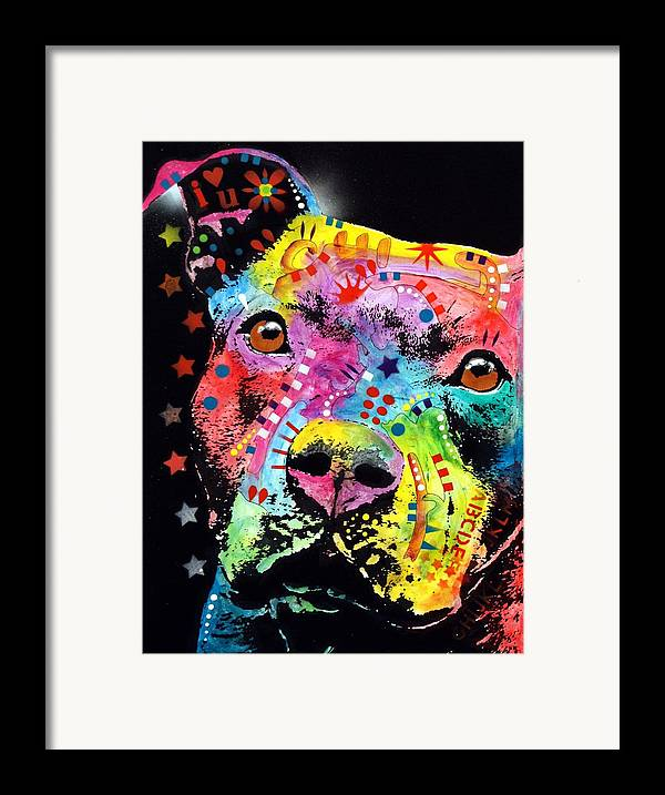 Pit Bull Framed Print featuring the painting Thoughtful Pitbull I Heart U by Dean Russo