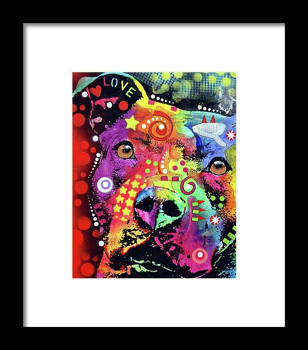Pit Bull Framed Print featuring the painting Thoughtful Pitbull Love by Dean Russo Art