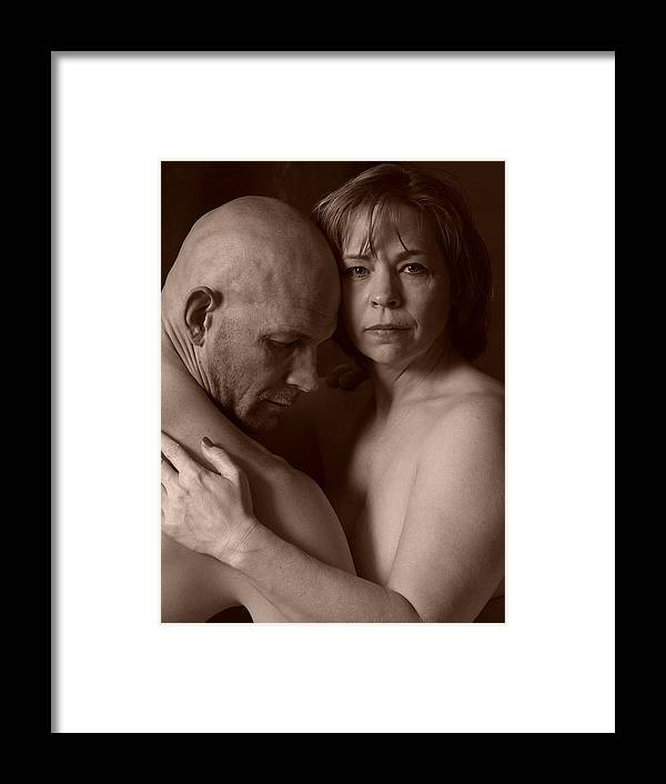 Male;female;man;woman;spouse;husband;wife;couple;nude;skin;black;white;portrait;stare;eyes;deep;depth;thought;pain;sadness;hurt;hopeless;lover;embrace;hold;touch;emotion;captivating;bald;middle-aged;forties;mature;older;adult;contemplate Framed Print featuring the photograph Thoughtful by Robert Gebbie