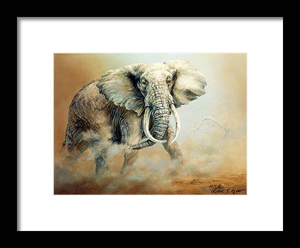 Elephant Painting Framed Print featuring the painting Threat Charge by Kathleen V Butts
