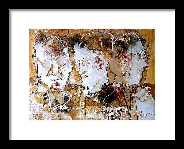 Figures Framed Print featuring the painting Three Advisors by Dale Witherow