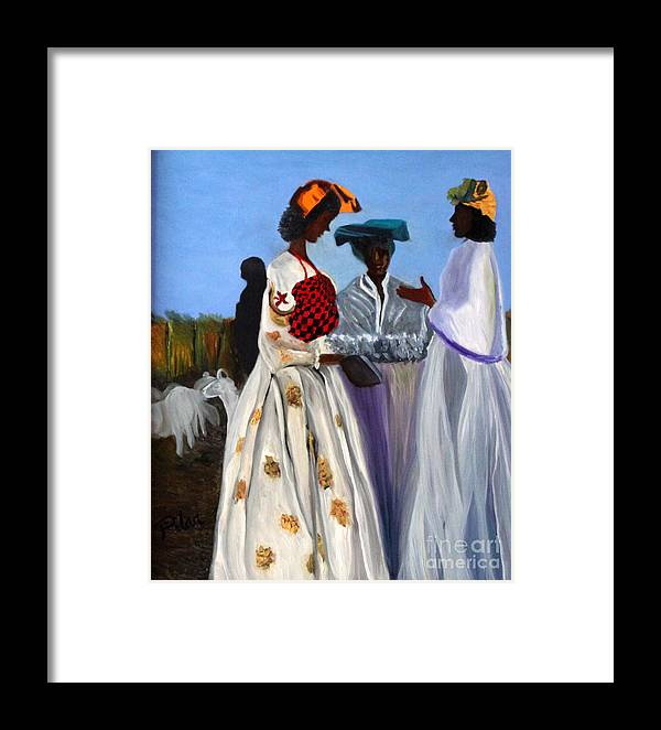 Framed Print featuring the painting Three African Women by Pilar Martinez-Byrne