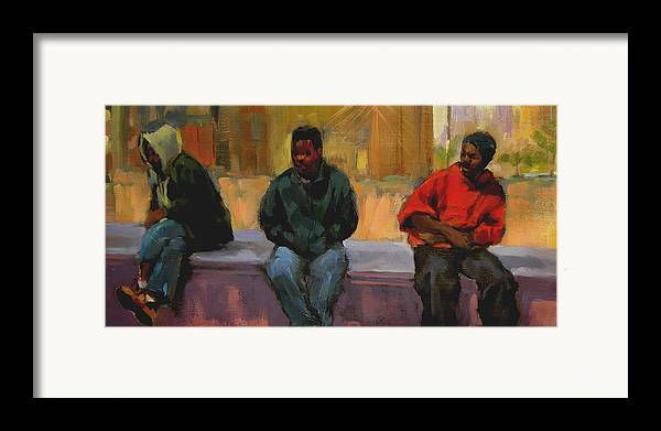 Figurative Framed Print featuring the painting Three Africans by Merle Keller