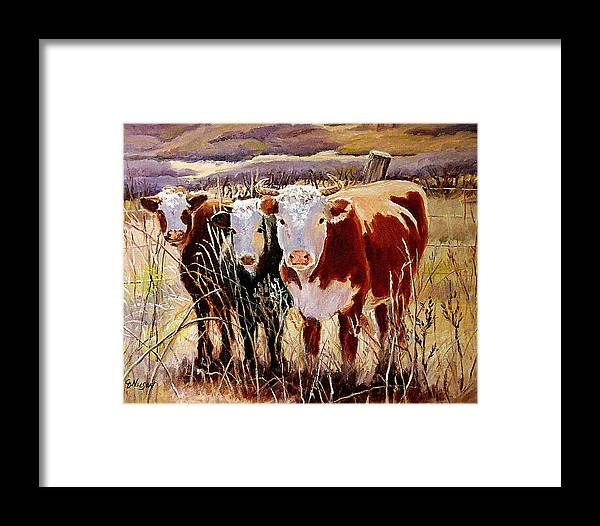 Cows Framed Print featuring the painting Three Amigos by Carol Nelson