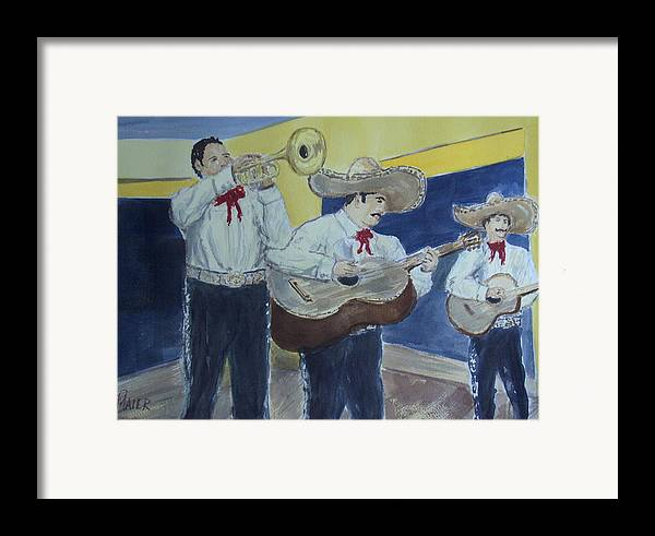 Mariachi Band Framed Print featuring the painting Three Amigos by Pete Maier