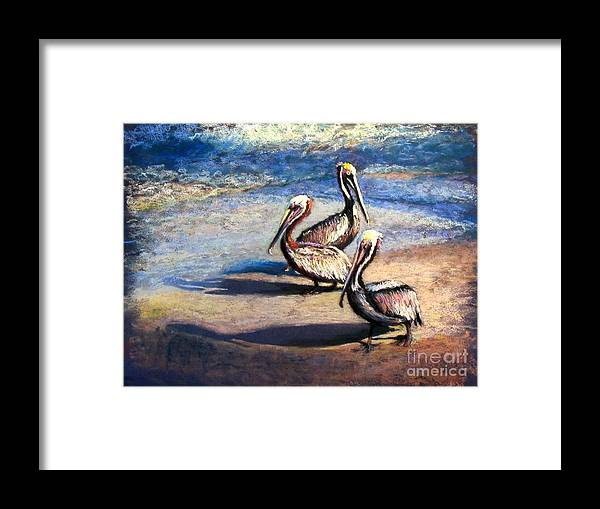 Birds Framed Print featuring the painting Three Amigos by Shirley Leswick