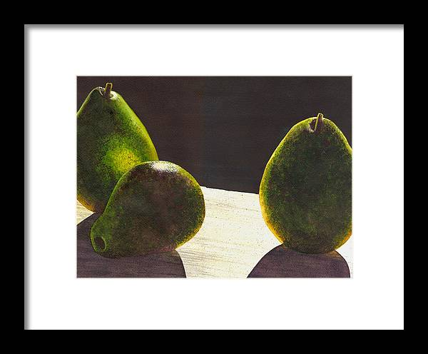 Pears Framed Print featuring the painting Three Backlit by Catherine G McElroy