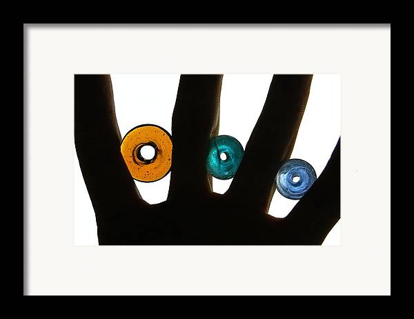 Graphic Framed Print featuring the photograph Three Beads by Dan Holm