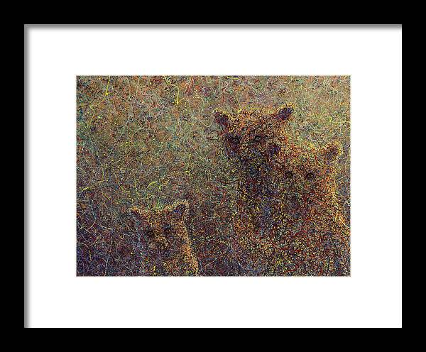 Bears Framed Print featuring the painting Three Bears by James W Johnson