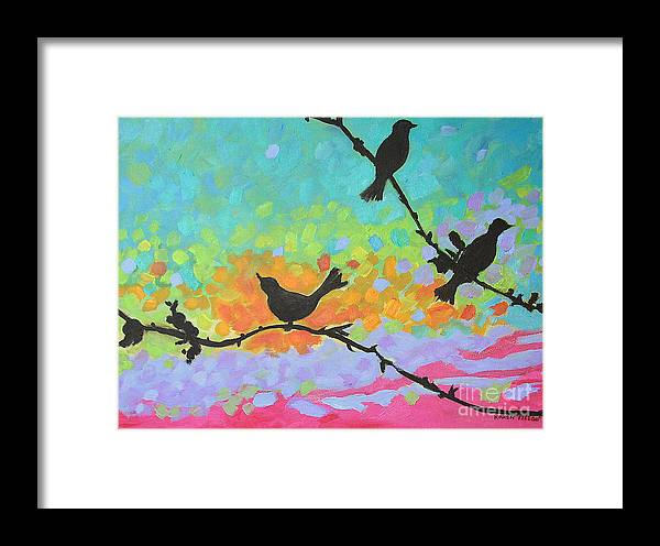 Urban Framed Print featuring the painting Three Birds by Karen Fields