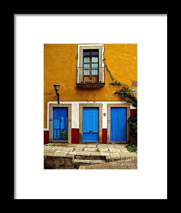 Darian Day Framed Print featuring the photograph Three Blue Doors 2 by Mexicolors Art Photography