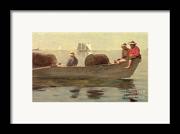 Boat Framed Print featuring the painting Three Boys In A Dory by Winslow Homer