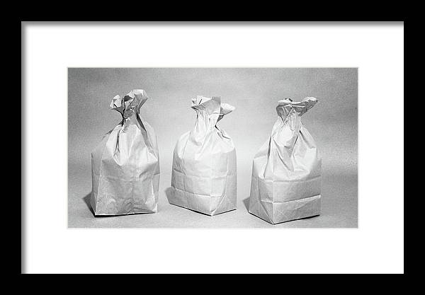 Framed Print featuring the photograph Three Brown Paper Lunch Bags by Andrew Wohl