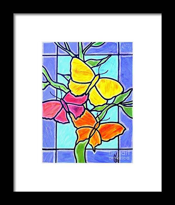 Butterflies Framed Print featuring the painting Three Butterflies by Jim Harris
