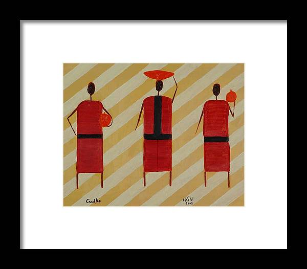 Figures Framed Print featuring the painting Three Carrier Ladies by Harris Gulko