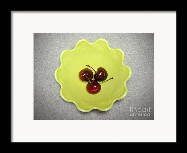 Nature Framed Print featuring the photograph Three Cherries In A Bowl by Lucyna A M Green