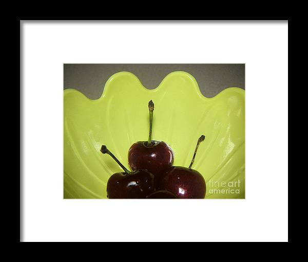 Nature Framed Print featuring the photograph Three Cherries In Profile by Lucyna A M Green