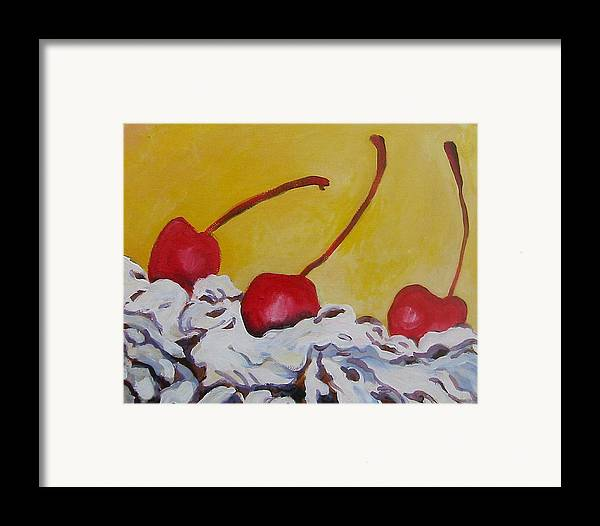 Desert Framed Print featuring the painting Three Cherries by Tilly Strauss