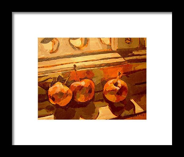 Canadian Art Framed Print featuring the painting Three Crabapples On A Window Sill by Tim Heimdal