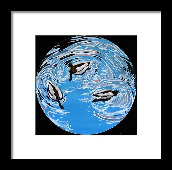 Ducks Framed Print featuring the painting Three Ducks by Art Nomad Sandra Hansen