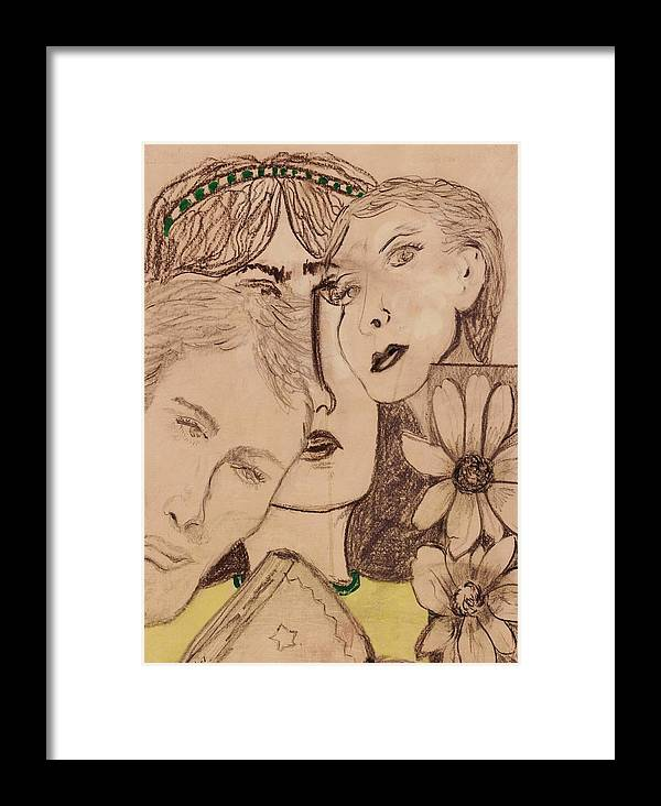 Faces Framed Print featuring the drawing Three Faces by JuneFelicia Bennett