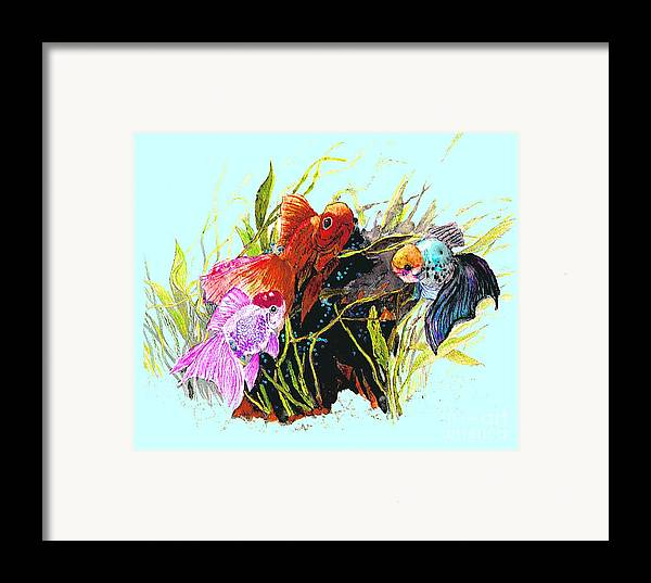 Fish Framed Print featuring the photograph Three Fish - Chinese Watercolor Painting by Merton Allen