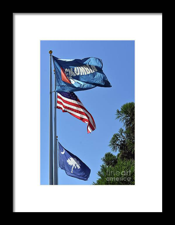 Scenic Framed Print featuring the photograph Three Flags by Skip Willits
