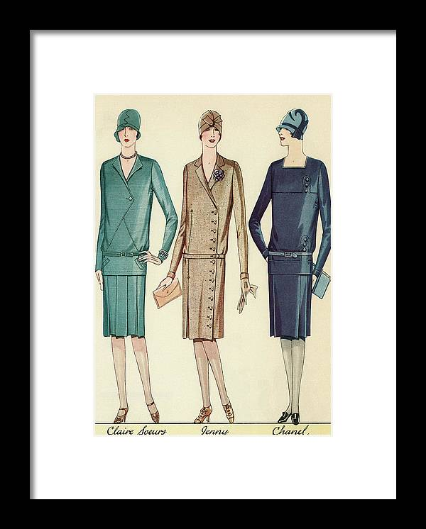 Flapper Framed Print featuring the painting Three Flappers Modelling French Designer Outfits, 1928 by American School