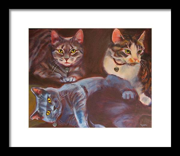 Cat Painting Framed Print featuring the painting Three For The Money by Kaytee Esser