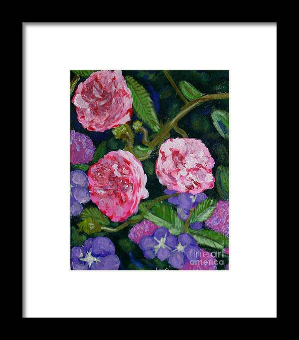 Roses Framed Print featuring the painting Three For The Show by Laurie Morgan