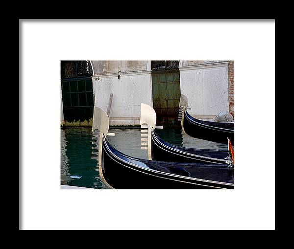 Three Gondolas Framed Print featuring the photograph Three Gondolas by Nancy Bradley