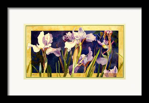 Irises Framed Print featuring the painting Three Gossips by Linda Marie Carroll