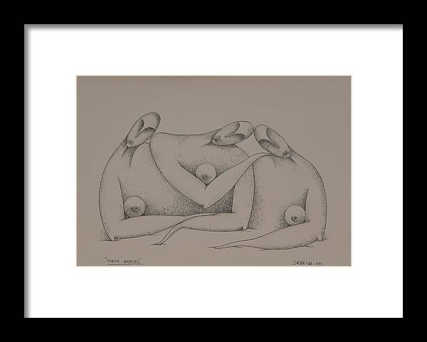 Sacha Framed Print featuring the drawing Three Graces 2008 by S A C H A - Circulism Technique