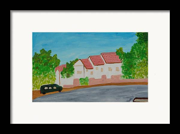 Tile-roof Framed Print featuring the painting Three Houses by Harris Gulko