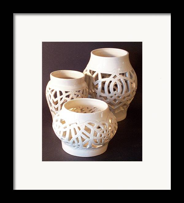 White Framed Print featuring the ceramic art Three Interlaced Design Wheel Thrown Pots by Carolyn Coffey Wallace