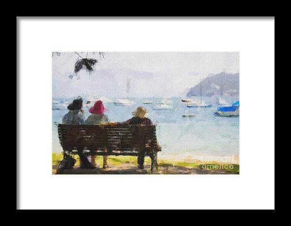 Impressionism Impressionist Water Boats Three Ladies Seat Framed Print featuring the photograph Three Ladies by Sheila Smart Fine Art Photography